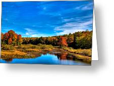 An Autumn Day At The Green Bridge Greeting Card