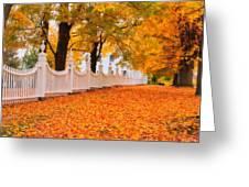 An Autumn Stroll - West Bennington Vermont Greeting Card by Thomas Schoeller