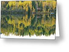 An Autumn View Of A Cabin Reflected Greeting Card