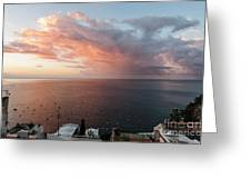 An Early Morning View From A Balcony In Positano, Campania, Ital Greeting Card