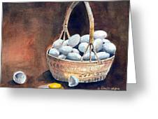 An Egg Mishap Greeting Card by Arline Wagner