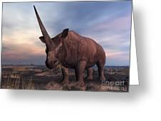 An Elasmotherium Grazing Greeting Card