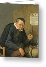 An Elderly Man Seated Holding A Wineglass Greeting Card