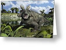 An Estemmenosuchus Mirabilis Stands Greeting Card