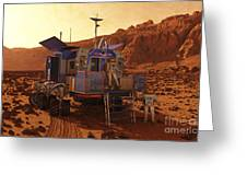 An Explorer Departs A Manned Rover Ina Greeting Card