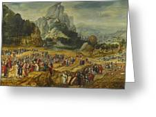 An Extensive Landscape With The Preaching Of Saint John The Baptist And The Baptism Of Christ Greeting Card