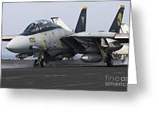 An F-14d Tomcat Launches Off The Flight Greeting Card