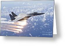 An F-15 Eagle Releases Flares Greeting Card