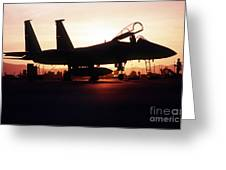 An F-15c Eagle Aircraft Silhouetted Greeting Card by Stocktrek Images