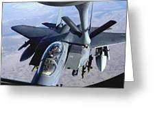 An F-15e Strike Eagle Refuels Over Iraq Greeting Card