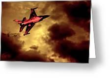 An F-16 Flies Through Hell Greeting Card