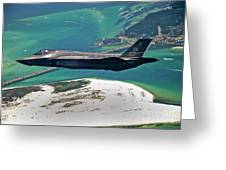 An F-35 Lightning II Flies Over Destin Greeting Card