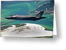 An F-35 Lightning II Flies Over Destin Greeting Card