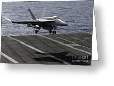 An Fa-18e Super Hornet Prepares To Land Greeting Card
