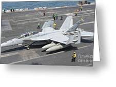 An Fa-18f Super Hornet On The Flight Greeting Card