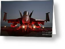 An Fa-18f Super Hornet Parked Greeting Card