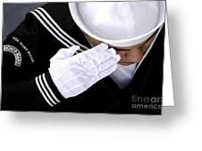 An Honor Guard Member Renders A Salute Greeting Card