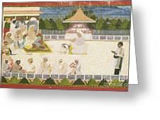 An Illustration Depicting Maharaja Ajit Singh Instructing A Scribe Greeting Card