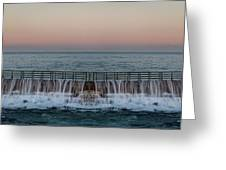 An Imagined Symmetrical Seawall As A Wave Tops It Greeting Card