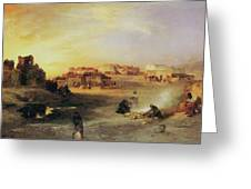 An Indian Pueblo Greeting Card by Thomas Moran