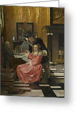 An Interior With A Woman Refusing A Glass Of Wine Greeting Card