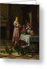 An Interior With Fruit And Flowers Greeting Card