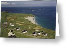 An Irishman Overlooks Cottages That Greeting Card