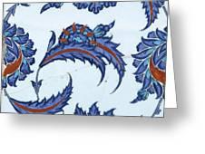 An Iznik Polychrome Pottery Tile, Turkey, Circa 1570-85, By Adam Asar, No 18 Greeting Card