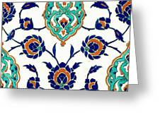 An Iznik Polychrome Tile, Turkey, Circa 1575, By Adam Asar, No 23h Greeting Card