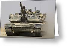 An M1a1 Abrams Tank Heading Greeting Card