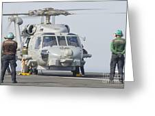 An Mh-60r Seahawk Embarked Aboard Uss Greeting Card