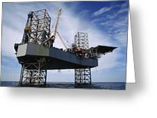 An Oil And Gas Drilling Platform Greeting Card