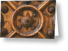 An Old Carved Wooden Door Greeting Card