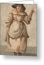 An Old Market Woman Grinning And Gesturing With Her Left Hand Greeting Card