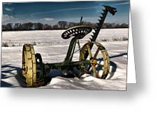 An Old Mower In The Snow Greeting Card