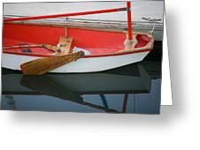 An Old Sailboat Tied To The Dock Greeting Card