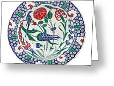 An Ottoman Iznik Style Floral Design Pottery Polychrome, By Adam Asar, No 1 Greeting Card
