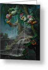 An Outdoor Scene With A Spring Flowing Into A Pool Greeting Card