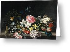An Overturned Vase Of Flowers Resting On A Ledge Greeting Card