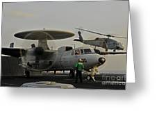 An Sh-60f Sea Hawk Helicopter Lifts Off Greeting Card