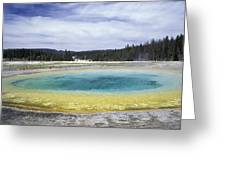 An Upper Geyser Basin At Chromatic Greeting Card