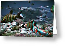 Anaglyph Whales Greeting Card