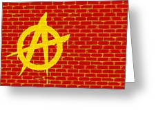 Anarchy Graffiti Red Brick Wall Greeting Card