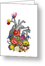 Anatomical Heart With Colorful Flowers Greeting Card