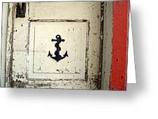 Anchor On Old Door Greeting Card