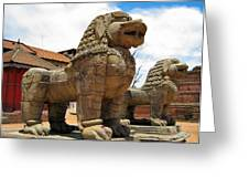 Ancient Lions In Nepal Greeting Card