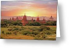Ancient Pagodas In The Countryside From Bagan In Myanmar At Suns Greeting Card