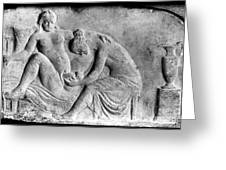 Ancient Roman Relief Carving Of Midwife Greeting Card