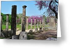 Ancient Ruins Tree By Columns Greeting Card