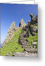 Ancient Steps Leading To Celtic Monastery, Skellig Michael, County Kerry, Ireland Greeting Card